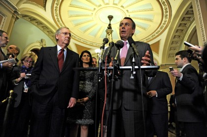 House Speaker-designate John Boehner (R-Ohio), center, and Senate Minority Leader Mitch McConnell (R-Ky.), left, speak to reporters after meeting with GOP Governors-elect at the United States Capitol in Washington, D.C., Wednesday, December 1, 2010. (Mary F. Calvert/MCT)