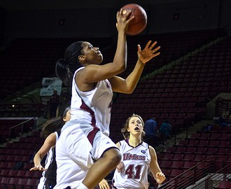 UMass' Kim Pierre-Louis takes a layup with no pressure on her in the Feb. 8 game against Richmond. (Nicole Evangelista/Daily Collegian)