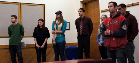 Members of the Jewish Leaders in Business spoke at Monday night's SGA Meeting where a motion was passes that formally recognize the accomplishments of James