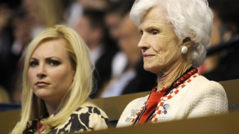 Megan McCain (left) sits with her grandmother Roberta McCain during the first day of the Republican National Convention in St. Paul, Minnesota, Monday, September 1, 2008. (Marc Lester/Anchorage Daily News/MCT)