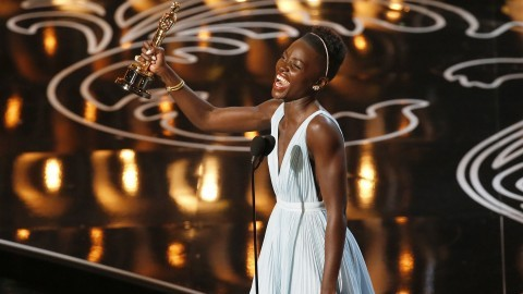 Lupita Nyongo on stage during the 86th annual Academy Awards on Sunday, March 2. (Robert Gauthier/Los Angeles Times/MCT)