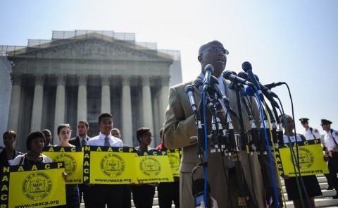 Charles White of the NAACP speaks outside the U.S. Supreme Court on Tuesday, June 25, 2013, in Washingto, DC, the day the court ruled on the Voting Rights Act striking down portions of the law. (Pete Marovich/MCT)