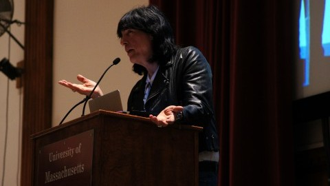 Famed rocker Marky Ramone came to speak on the UMass campus on Monday. (Cade Belisle/Daily Collegian)