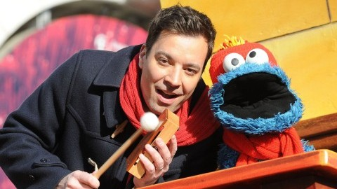 Jimmy Fallon and Cookie Monster entertain the crowd during the Macy's Thanksgiving Day Parade in New York on Thursday, Nov., 28, 2013. (Kristin Callahan/Ace Pictures via Zuma Press/MCT)