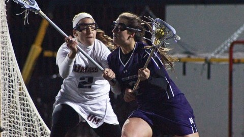 Senior Defender Kelsey McGovern defends against Northwestern attack Alyssa Leonard in UMass's 10-6 loss to the No. 7 Wildcats last Tuesday (Robert Rigo/Daily Collegian)