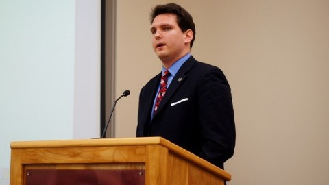 Student Government Administration President Zachary Broughton spoke on Monday night. (Cade Belisle/Daily Collegian)