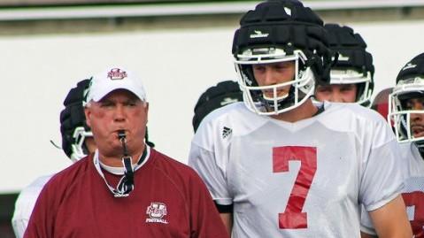 UMass head coach Mark Whipple (left) and quarterback Blake Frohnapfel. (Robert Rigo/Daily Collegian)