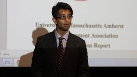 SGA president Vinayak Rao speaks at the first meeting of the year. (Christina Yacono/Daily Collegian)