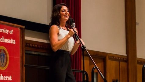 Jenny Dell speaks to UMass students as part of Homecoming week