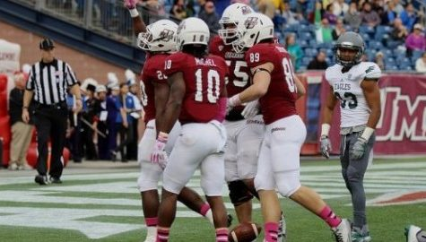 UMass football seeing improvement on both the offensive and defensive lines