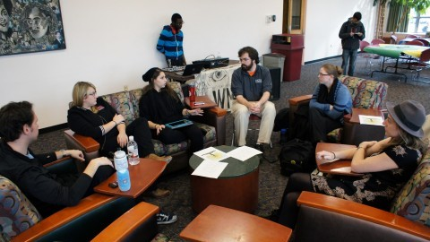 Community members sat in groups and discussed their thoughts Tuesday on the recent events in Ferguson, Missouri. (Cade Belisle/Collegian)