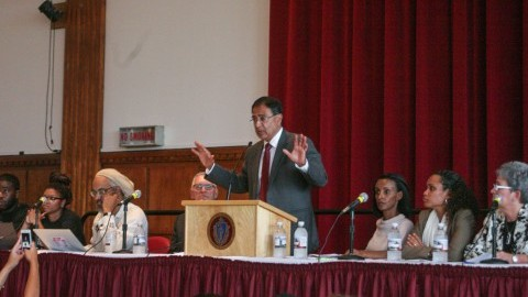 Chancellor Kumble Subbaswamy addresses the Diversity Town Hall Meeting Oct. 16, 2014. (Shannon Broderick/Collegian)