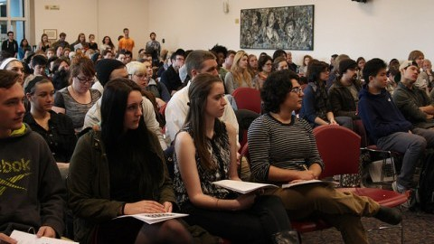 (Christina Yacono/Daily Collegian) Students at theStanding Together Against Racism: A Day of Solidarity Read-In.