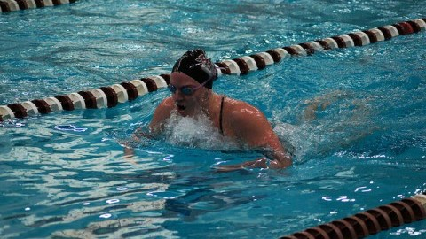 (Cade Belisle/Daily Collegian) Womens Swimming and Diving at the UMass vs. Brown competition, on Nov. 8.