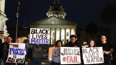 A rally at the South Carolina State House, in Columbia, S.C., in the wake of the grand jury decision not to indict officer Darren Wilson in the shooting death of Ferguson, Mo., teen Michael Brown, on Tuesday, Nov. 25, 2014. (Kim Kim Foster/The State/MCT)