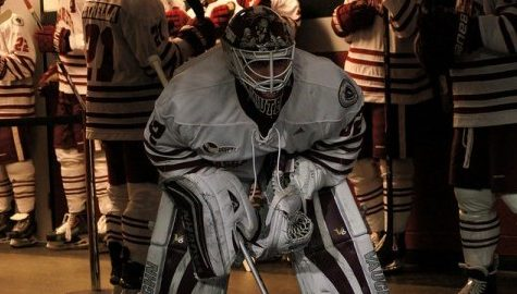 Freshman Henry Dill has brought stability at goaltender for UMass hockey