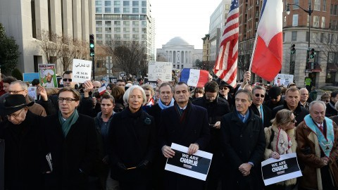 A silent march in Washington, D.C., on Sunday, Jan. 11, 2015, to honor those who died during three days of attacks in Paris. (Olivier Douliery/Abaca Press/TNS)