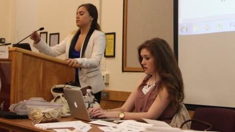 Sïonan Barrett at an SGA meeting. (Christina Yacono/Daily Collegian)