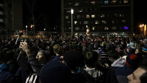 Students celebrate peacefully in Southwest after Patriots' Super Bowl XLIX win