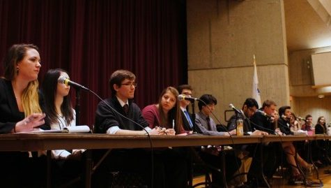 Candidates speak at last year's SGA president, vice president and University student trustee debate. (Cade Belisle/Daily Collegian)