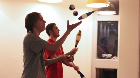 (Christina Yacono/Daily Collegian) (Andrew Wglinski and Eli Baer warm up with basic juggling techniques.)