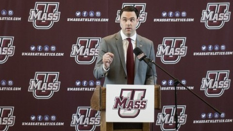 Ryan Bamford speaks to friends, family, colleagues, students, athletes, and the media as he steps into the role of athletic director of the University of Massachusetts. (Cade Belisle/Daily Collegian)