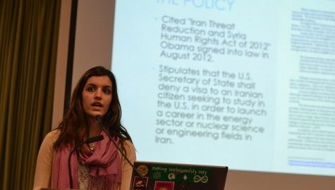 Nasim Cheraghi, president of the UMass Undergraduate Persian Student Association, speaks during a meeting regarding the recent UMass admission policy of Iranian students. (Alex Lindsay/Daily Collegian)