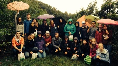 The UMass Nutrition Association during an apple picking trip (Photo courtesy of Amanda Cortese)