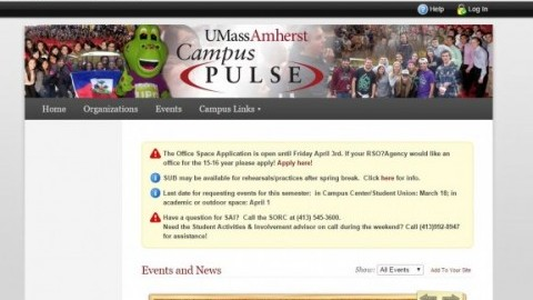 The Campus Pulse page has a list of RSOs and upcoming events on campus.