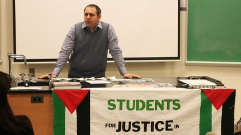 Yousef Munayyer, a Palestinian American gives a lecture on why imposing costs on Israel is necessary. (Christina Yacono/Daily Collegian)