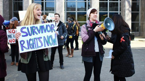 Students gathered and marched for the CERC Day of Action in solidarity with Carrying the Weight to demand that UMass Administration takes real action to end sexual violence and rape culture at UMass (Juliette Sandleitner/Daily Collegian)