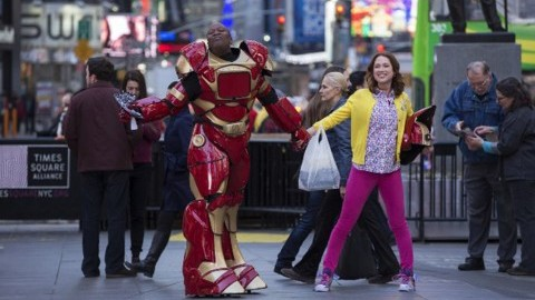 The Unbreakable Kimmy Schmidt dancing with Iron Man in Times Square