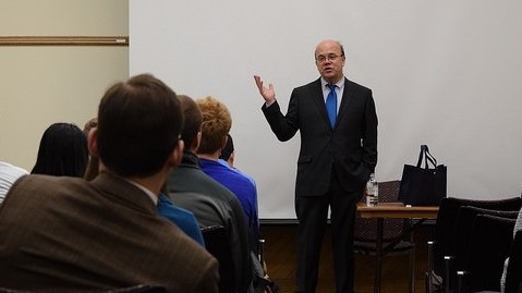 Congressman Jim McGovern gave a talk and proceeded to take photos with the guests. (Claire Anderson/Daily Collegian)