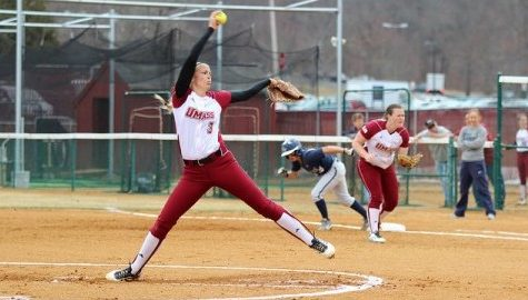 UMass softball sweeps URI in doubleheader, Raymond throws no-hitter