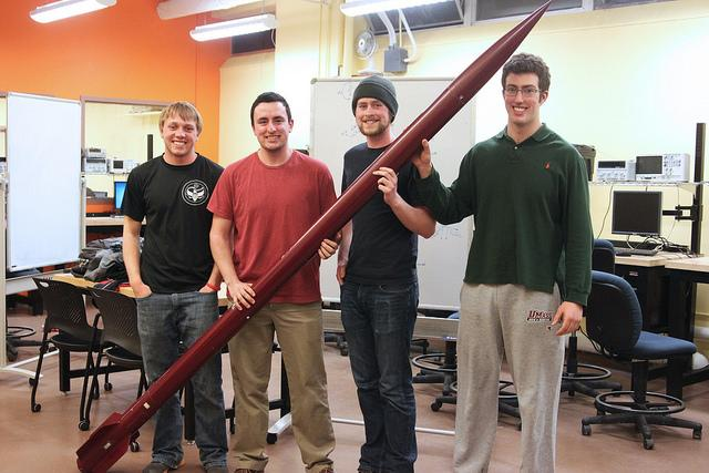 (Max Perham, Greg Kelley, Nate Fowler, and Andrew Dodd are all part of the NASA Student Launch competition in which they had to build their own rocket and robot. They will be competing in Alabama with other colleges next Tuesday. Christina Yacono/Daily Collegian.)