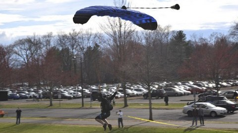 The UMass Skydiving Club leaps into Southwest Week to end the residential area's celebration Friday. (Patrick Hoff/Daily Collegian)