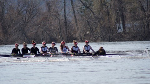 Last Thursday the UMass Rowing team went up against UConn at the Connecticut River. (Cade Belisle/Daily Collegian)