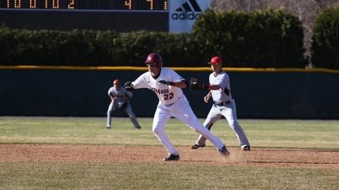 Mike Geannelis prepares to run towards third base.(Christina Yacono/Daily Collegian)