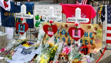 A memorial set up at the finish line of the Boston Marathon after the bombings in 2013. Dzhokhar Tsarnaev was found guilty in the attack. (Collegian File Photo)