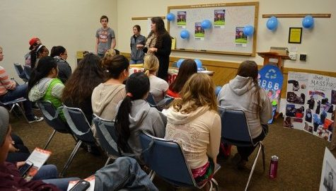 At the kick off meeting in 2013, Chapter Chair Shawna Upton talks to the group about the Bottle Bill. (Collegian File Photo)