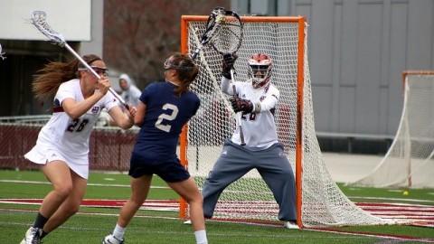 Goalie Rachel Vallarelli prepares for a potential attack by George Washington. (Robert Rigo/Daily Collegian)