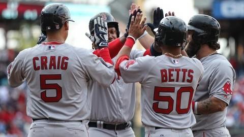 Boston Red Sox's team members celebrate Hanley Ramirez's grand slam homer off Philadelphia Phillies on April 6, 2015.  (Steven M. Falk/Philadelphia Daily News/TNS)