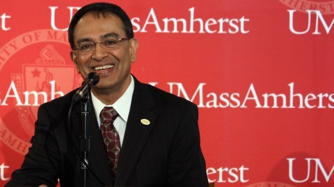 Kumble Subbaswamy smiles at his introductory news conference as UMass chancellor in 2012. (Collegian File Photo)