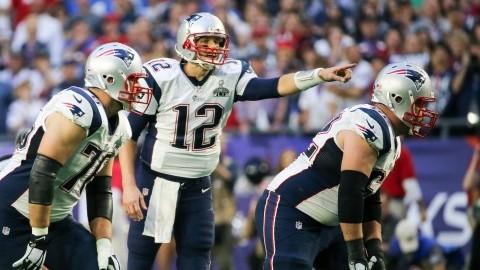 New England Patriots quarterback Tom Brady directs a play against the Seattle Seahawks at Super Bowl XLIV, held at the University Of Phoenix Stadium on Feb. 1, 2015 in Glendale, Ariz. (Anthony Behar/Sipa USA/TNS)