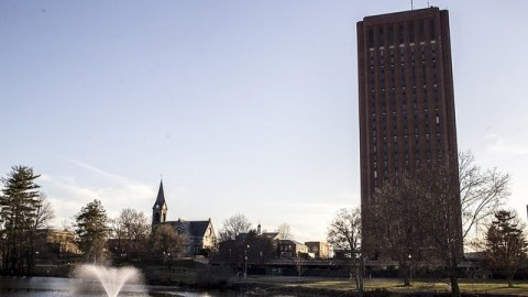 The UMass campus at sunset.  Andy Castillo/Daily Collegian