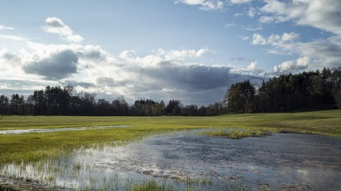 Clouds race over protected farm land in Hadley.  Andy Castillo/Daily Collegian