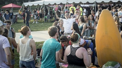 Students wander the green on the Hagis Mall Tuesday night at the 2015 Activities Expo, where clubs and other activities put their best foot forward, in hopes to gain new recruits. Andy Castillo/Daily Collegian