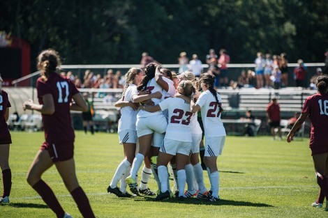 Celebration after Alyssa Fratarcangeli's goal. Gibson-Okunieff/Daily Collegian