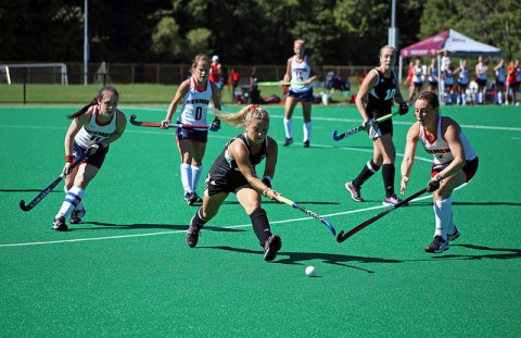 Nicole Miller works her way to the Richmond goal. Robert Rigo/Daily Collegian
