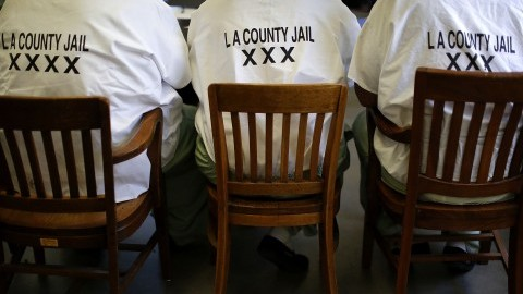 An inmate council meeting takes place on June 16, 2015 at Pitchess Detention Center in Castiac, Calif. (Barbara Davidson/Los Angeles Times/TNS)